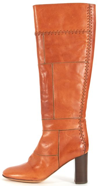 CHLOÉ CHLOÉ Brown Leather Patchwork Heeled Knee-High Boots