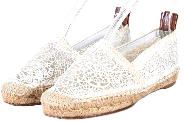 CHLOÉ White Semi Sheer Crochet Lace Espadrilles Flats