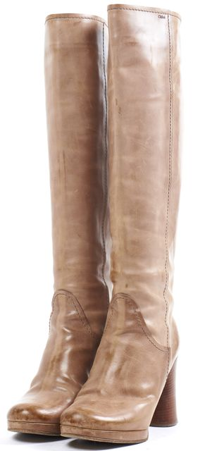 CHLOÉ CHLOÉ Brown Distressed Leather Stacked Heel Knee-High Boots