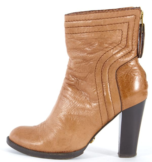 CHLOÉ CHLOÉ Tan Brown Leather Heeled Ankle Boots