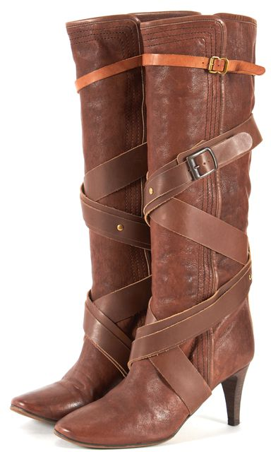 CHLOÉ CHLOÉ Brown Leather Wrap Around Buckle Heeled Knee-High Boots