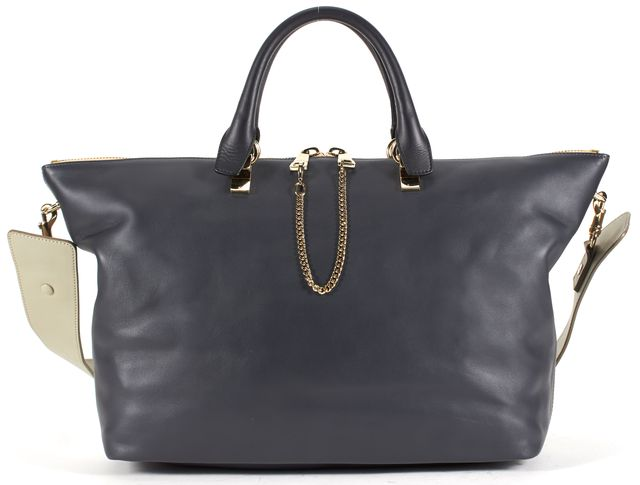 CHLOÉ Black Gray Color Block Leather Baylee Satchel