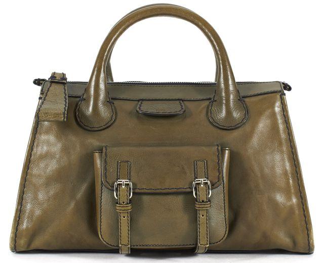 CHLOÉ CHLOÉ Olive Green Leather Edith Satchel Tote