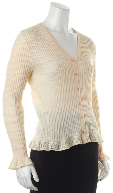 CHLOÉ Ivory Pink Button Down Long Sleeve Cotton Crochet Cuff Cardigan