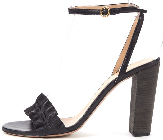 CHLOÉ Black Leather Ankle Strap Sandal Heels