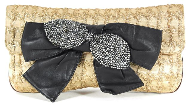 CHLOÉ CHLOÉ Gold Jacquard Canvas Crystal Embellished Leather Bow Clutch
