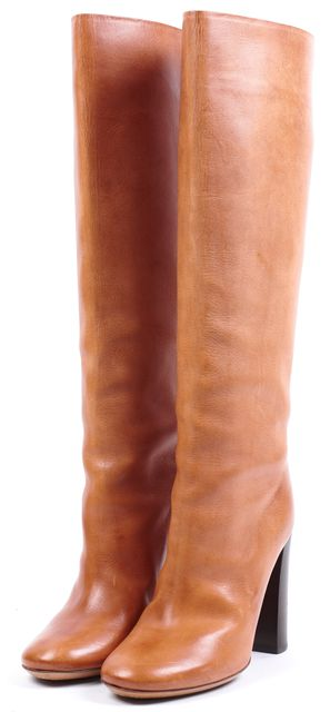 CHLOÉ Honey Brown Leather Block Heeled Knee-High Boots