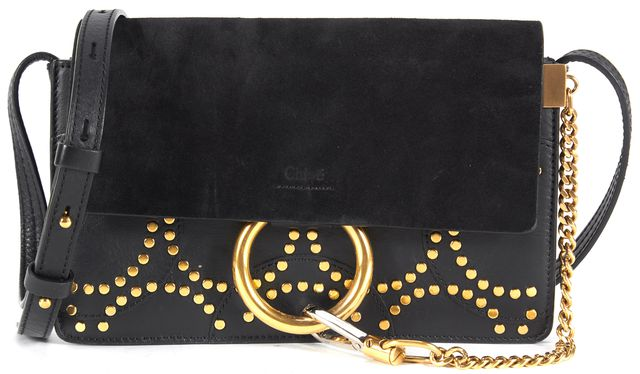 CHLOÉ Black Suede Leather Stud Embellished Faye Crossbody