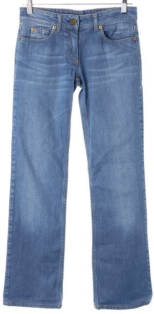 CHLOÉ Blue Whiskered Low Rise Wide Leg Jeans