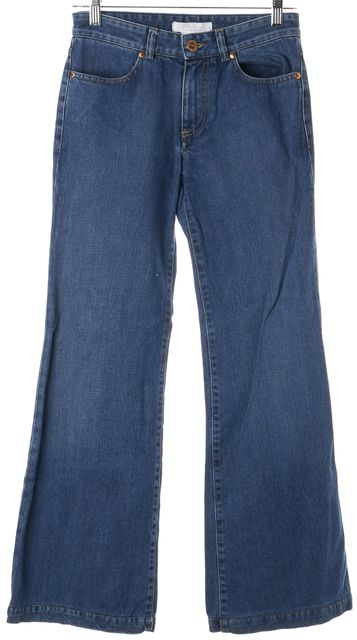 CHLOÉ Blue Wide Leg Mid-Rise Four Pocket Flare Jeans