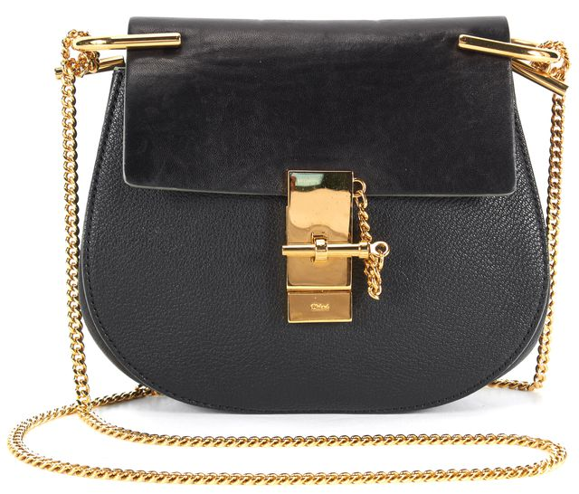 CHLOÉ CHLOÉ Black Leather Gold Hardware Nano Drew Crossbody Bag