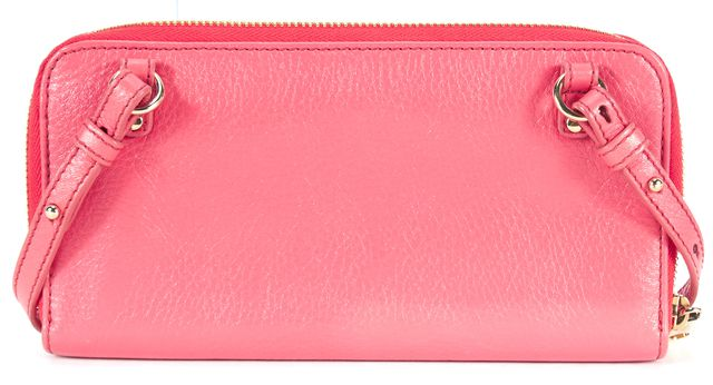 CHLOÉ CHLOÉ Hot Pink Leather Gold Hardware Front Pocket Crossbody Wallet
