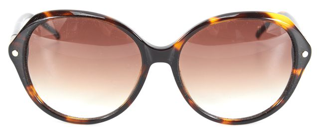 CHLOÉ Brown Tortoise Acetate Oversized Round Gradient Lens Sunglasses w Case
