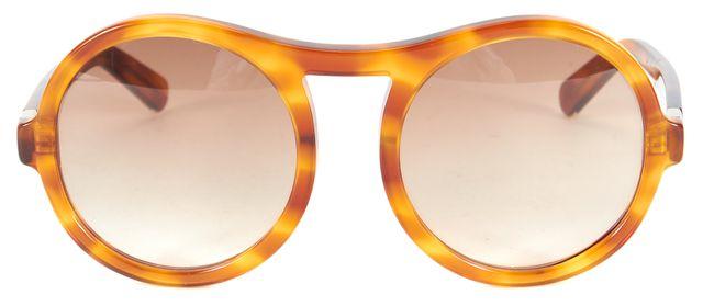 CHLOÉ Amber Tortoiseshell Acetate Marlow Oversized Round Sunglasses w/ Case