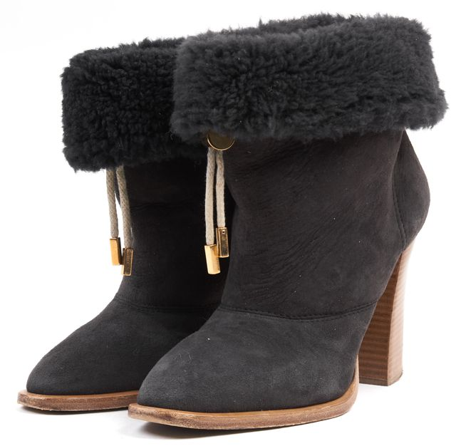 CHLOÉ Black Shearling Sheepskin Drawstring Stacked Ankle Boots Size IT 40 US 10