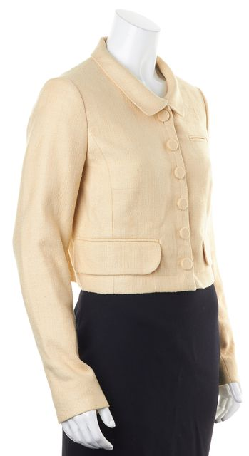 CHLOÉ Beige Woven Raw Silk Coquille Cropped Button Up Jacket