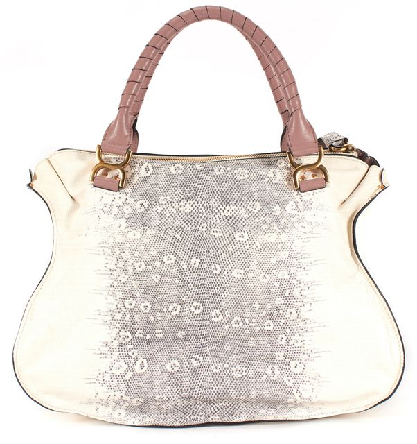 CHLOÉ Ivory Black Lizard Embossed Leather Marcie Shoulder Bag