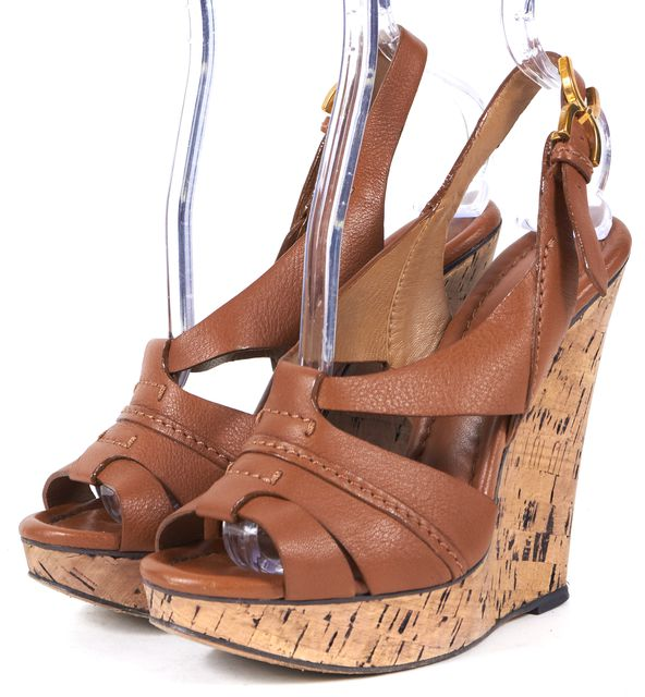 CHLOÉ Brown Leather Slingback Sandal Cork Wedges