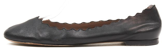 CHLOÉ CHLOÉ Solid Black Leather Scalloped Lauren Flats