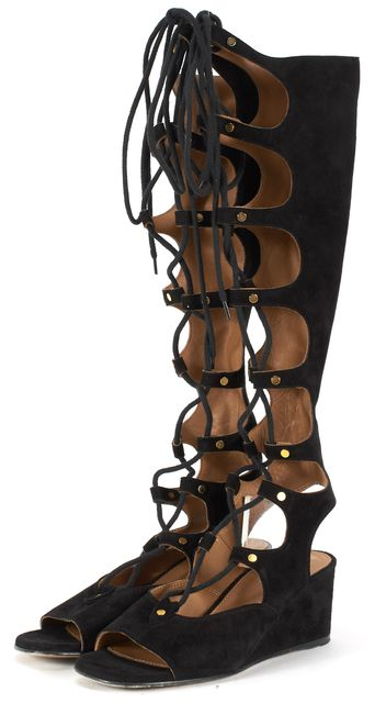 CHLOÉ Solid Black Suede Open Lace Up Gladiator Sandals
