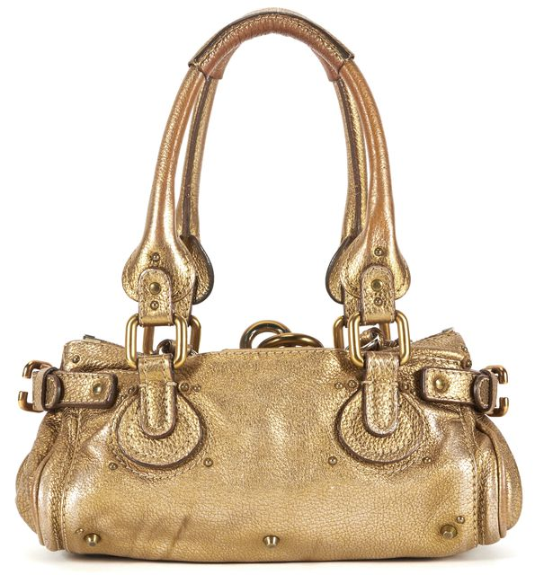 CHLOÉ Metallic Gold Leather Mini Paddington Top Handle Bags