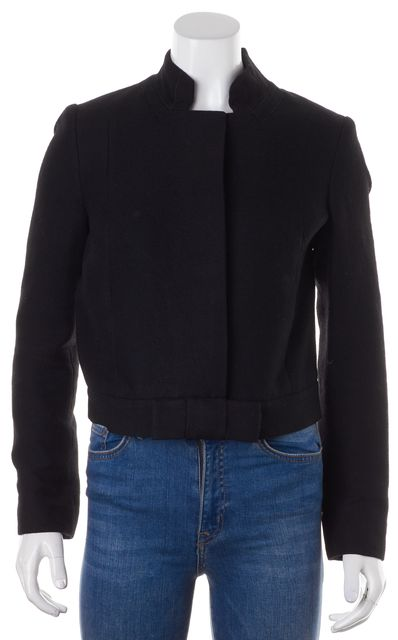 CHLOÉ Black Noir Wool Bow-Tie Waist Trim Jacket