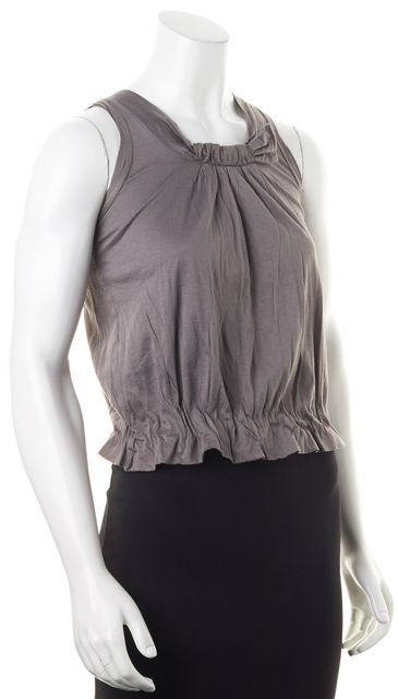 CHLOÉ CHLOÉ Gray Pucker Effect Sleeveless Blouse Top