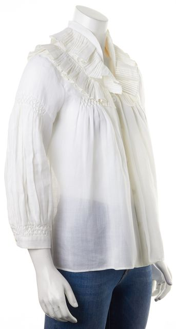 CHLOÉ White Bamboo Ruffled Sheer Button Down Blouse