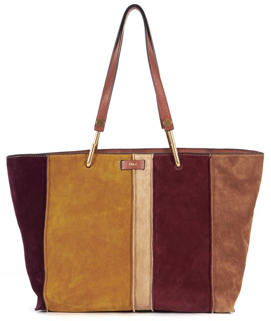 CHLOÉ Caramel Brown Burgundy Mustard Suede Leather Keri Tote Bag