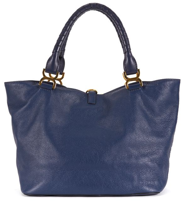 CHLOÉ Navy Blue Leather Marcie Tote Shoulder Bag