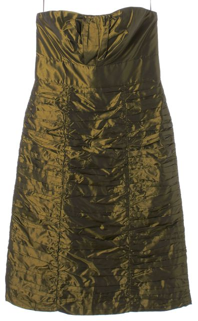 CHLOÉ CHLOÉ Dark Kiwi Green Metallic Strapless Corset Dress