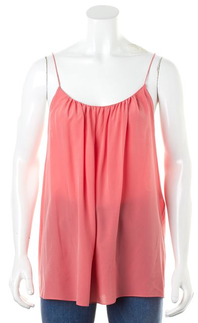 CHLOÉ Pink Silk Spaghetti Straps Scoop Neck Pleated Tank Top Blouse