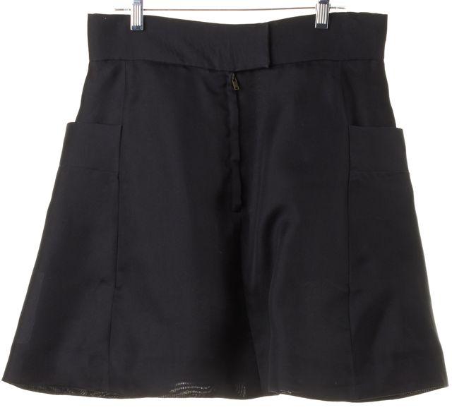 CHLOÉ Black Pleated Pocket Front A-Line Skirt