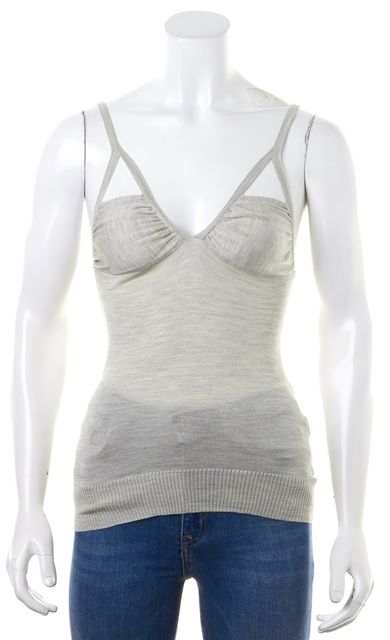 CHLOÉ CHLOÉ Light Heather Gray Cut-Out Sleeveless Knit Top