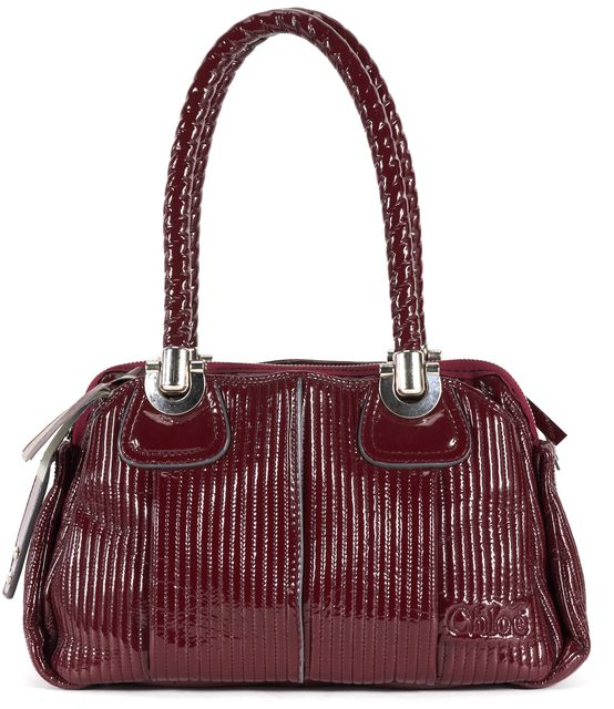 CHLOÉ Burgundy Red Quilted Vernice Patent Leather Heloise Shoulder Bag