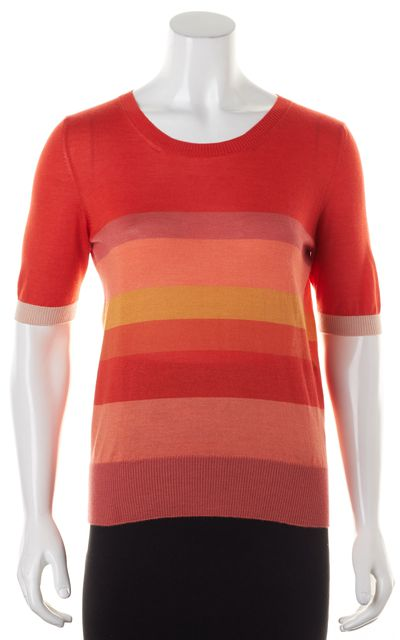 CHLOÉ Orange Pink Striped Cashmere Silk Knit Top