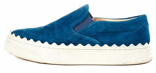 CHLOÉ Blue Suede Ivy Scalloped Slip-On Sneakers