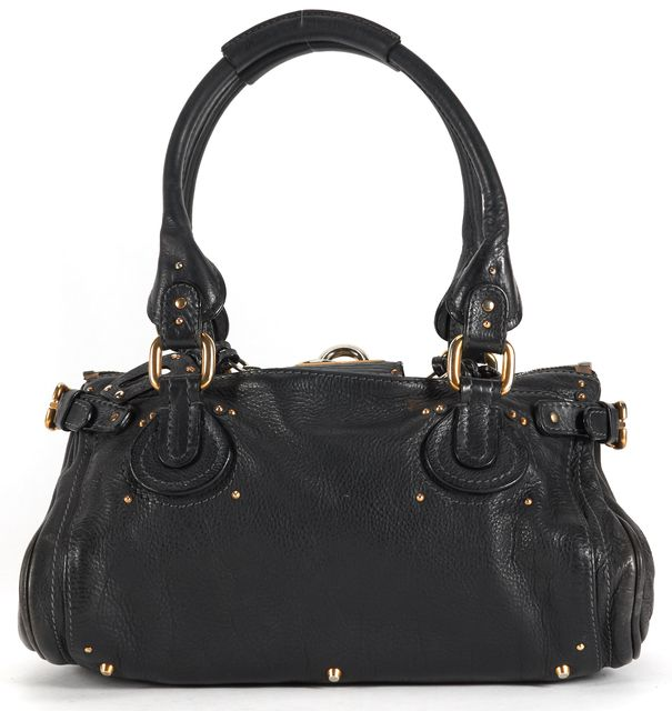 CHLOÉ Black Leather Gold Hardware Paddington Shoulder Bag