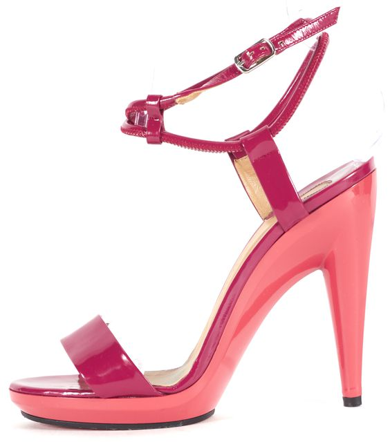 CHLOÉ Pink Color Block Patent Leather Sandal Heels