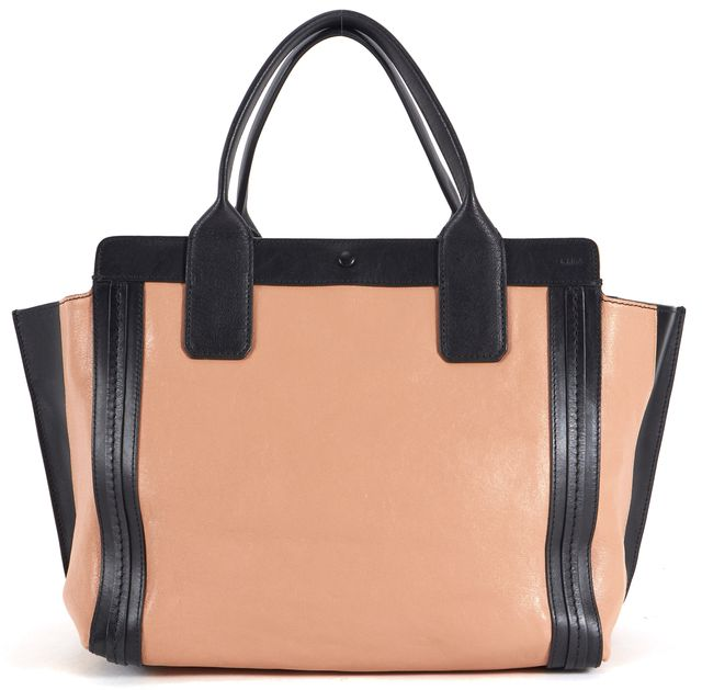 CHLOÉ Dusty Pink Black Color Block Leather Alison Tote