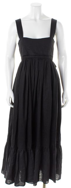 CHLOÉ Black Linen Sleeveless Back Tie Cutout Maxi Dress
