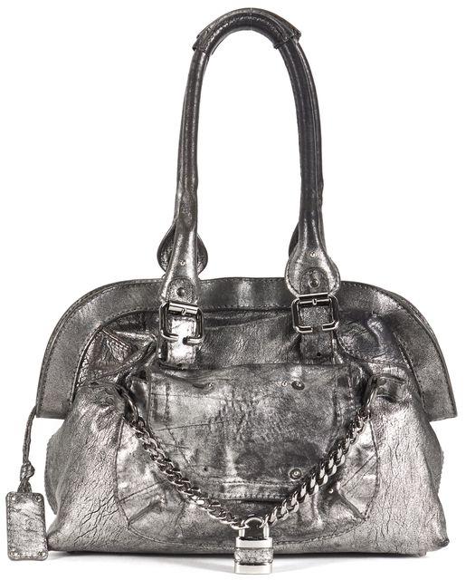 CHLOÉ CHLOÉ Metallic Silver Leather Medium Paddington Shoulder Bag