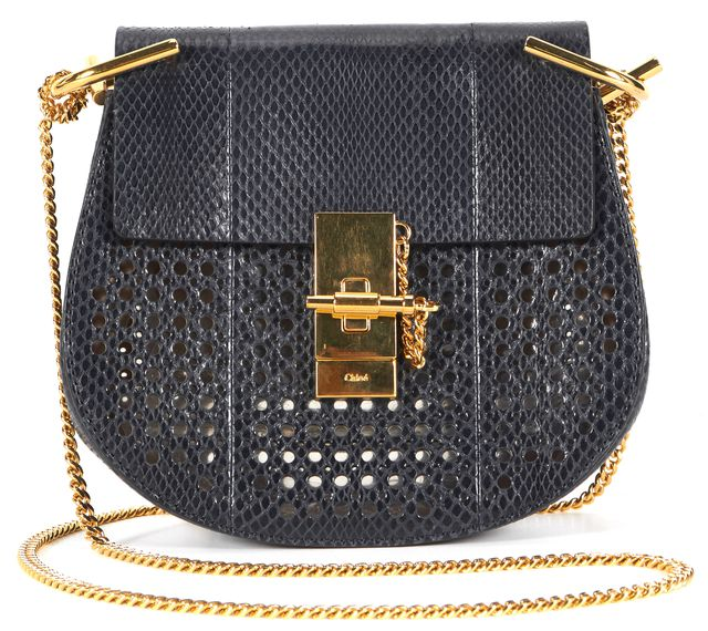 CHLOÉ Navy Blue Gold Tone Perforated Ayers Snakeskin Mini Drew Crossbody