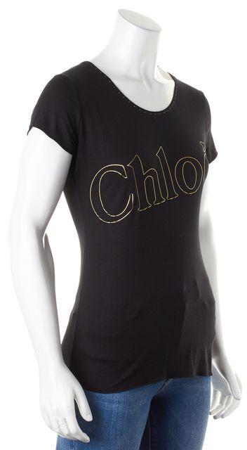 CHLOÉ Black Gold Graphic Cap Sleeve Basic T-Shirt
