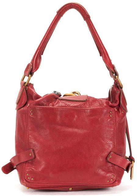 CHLOÉ Red Pebbled Lambskin Leather Paddington Hobo Bag