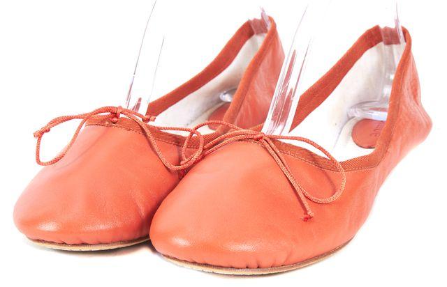 CHLOÉ Burnt Orange Leather Bow-Tie Ballet Flats