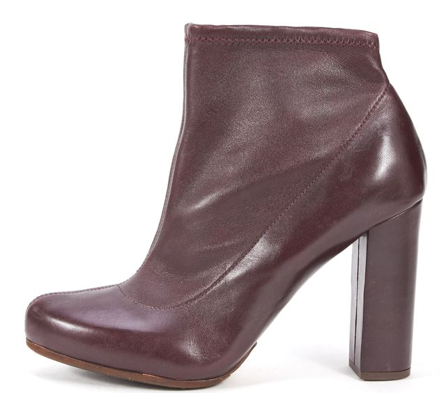 CHLOÉ Burgundy Red Leather Block Heeled Ankle Boots