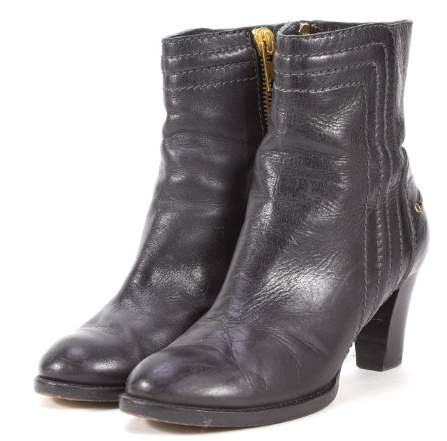 CHLOÉ Black Leather Heeled Ankle Boots