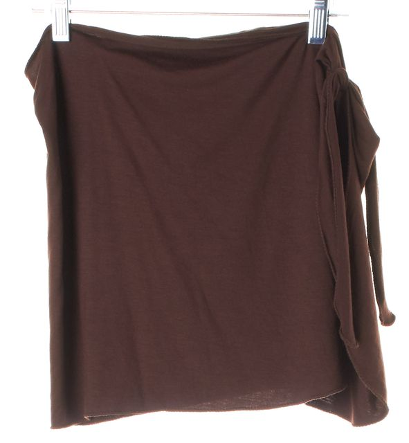 CHLOÉ Brown Stretch Above Knee Wrap Skirt