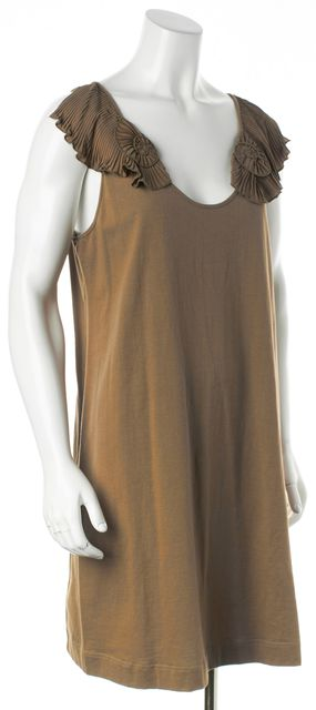 CHLOÉ Khaki Brown Pleated Floral Embellished Sleeveless Tank Dress
